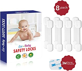 Child Safety Strap Locks (8 Pack) for Fridge, Cabinets, Drawers, Dishwasher, Toilet, 3M Adhesive No Drilling - by Eco-Baby