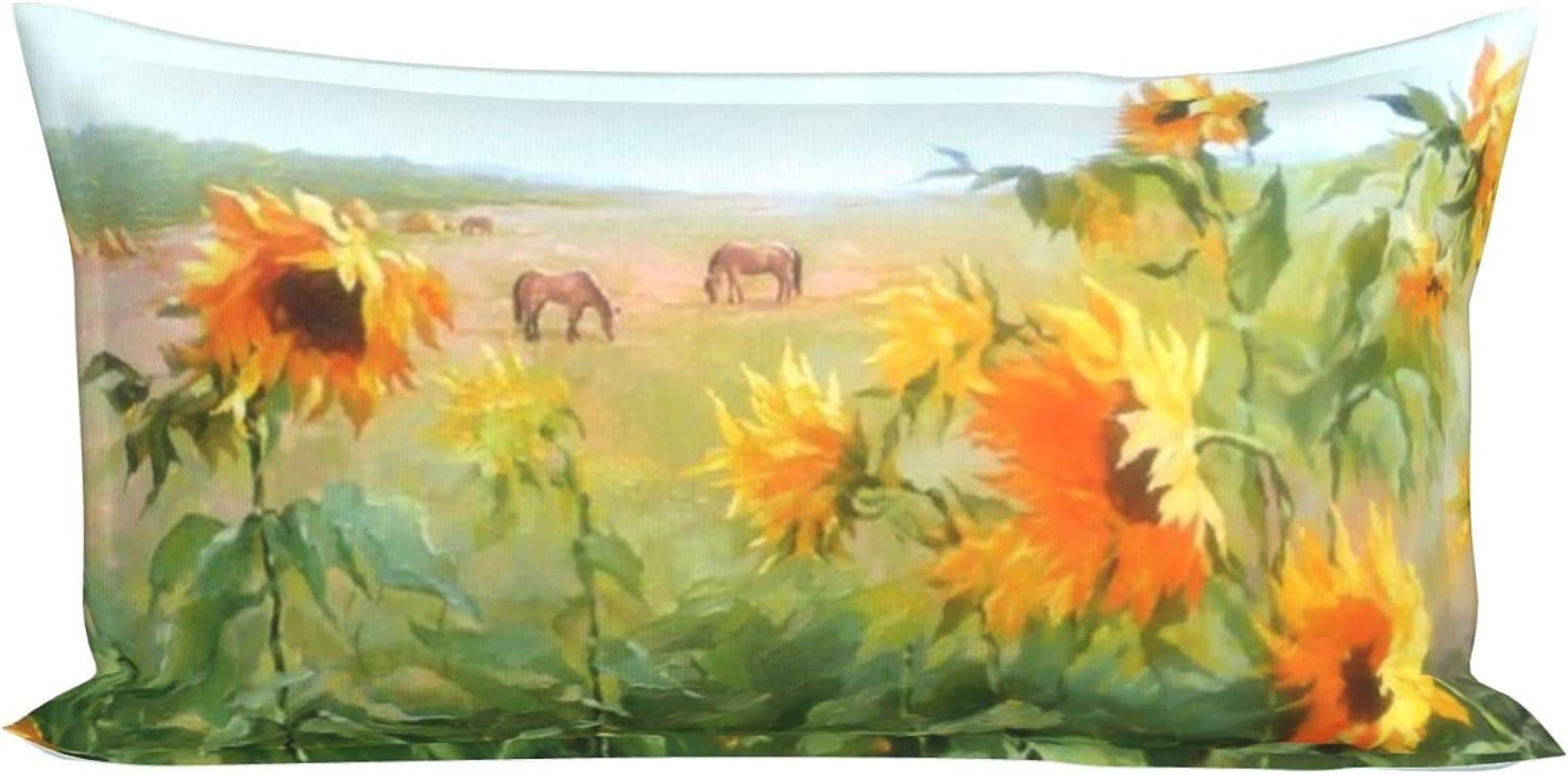 Beautiful Sunflower Grassland Pillowcase Max Recommendation 85% OFF Soft Hidden Zipper with