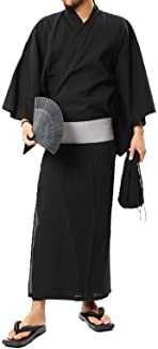 (ロシェル) roshell メンズ 浴衣 5点セット (浴衣 帯 下駄 信玄袋 扇子) ワンタッチ帯 簡単着付け メンズ 浴衣セット