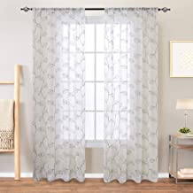 Vangao Embroidered Sheer Curtains Leaf Drapes Floral Embroidery Voile for Living Room Bedroom,Rod Pocket,55