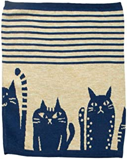 Kaya Japanese Haramaki Stomach/Body Warmer Belt Stripe and Cat Design, Large