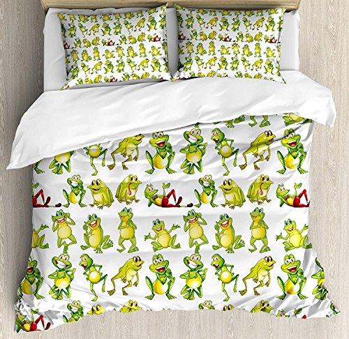 Conjuntos de dormitorio para niños, Ranas en diferentes posiciones Divertidos Happy Cute Cartoon...