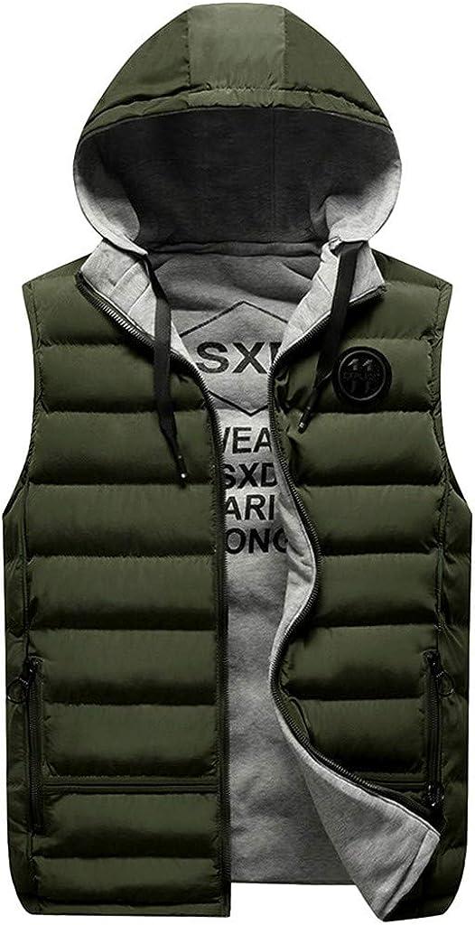 FORUU Men Puffer Vests Hooded Winter Sale,Comfy Solid Simple Fashion Warm Plus Size Outwear Jacket Sleeveless Coat