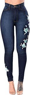 Women's High Waist Rose Embroidered Ripped Denim Skinny Jeans Pocket