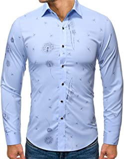 SPE969 Men's Classic Business Button Up Shirt,3 Colors Stamped Long Sleeve Shirt Printed Long-Sleeved Blouse