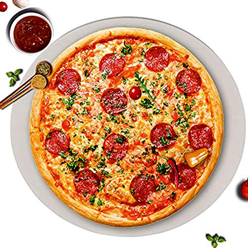 GGC 16 inch Pizza Stone for Ovens, Grill and BBQ to Cook Perfect Crispy Crust Pizza, Bread and Cookies at Home and Outdoor, Smooth Round Shape Baking Stone Distributes Heat Evenly