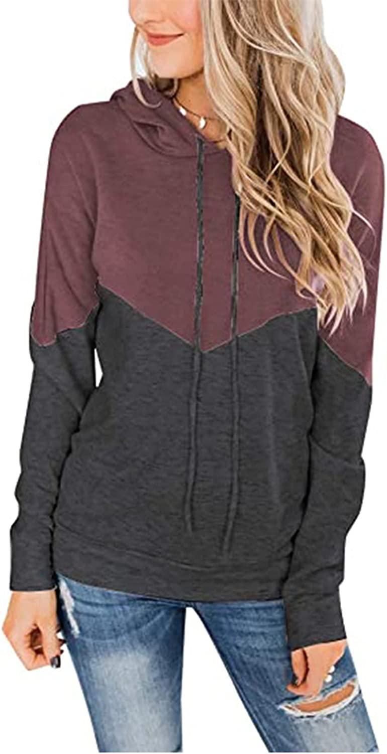 Women's Fall Clothes Drawstring Hooded Sweatshirt Fleece Patchwork Blouse Casual Pullover Lightweight Tops