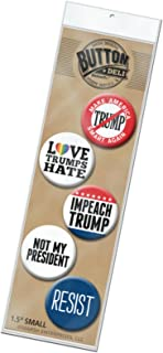 5-Pack Buttons Anti Donald Trump 2020-1.5 Inch Small - Love Hate Impeach Resist Not My President - Assorted Designs 4050