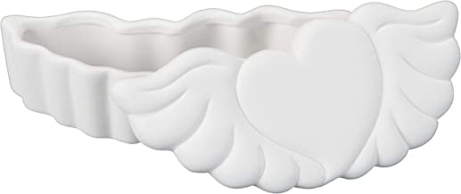 Creative Hobbies Heart with Wings Trinket Box, Case of 6, Unfinished Ceramic Bisque, with How to Paint Your Own Pottery Booklet