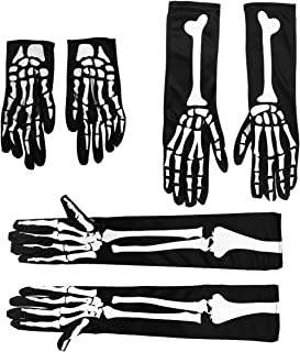ULTECHNOVO Dia Das Bruxas Esqueleto Crânio Luvas Dedo Completo Esticar Luvas Ossos Fantasmas Fantasias de Cosplay para Da...