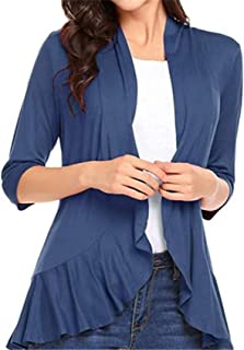 SZIVYSHI 3/4 Sleeve Draped Drape Ruffled Ruffle Hem Open Front Cardigan Blouse Shirt Top