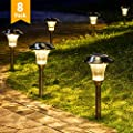 GIGALUMI 8 Pack Solar Pathway Lights, Solar Pathway Lights Outdoor Warm White, Waterproof Glass Stainless Steel Automatic Solar Landscape Lights for Patio, Yard, Lawn, Garden and Path (Silver Finish?