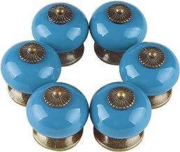 Larcele Vintage kastknop deurknop keramische handgrepen voor lade, rond, 6 stuks CTLS-01 blauw