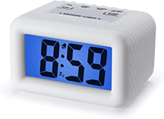 Plumeet Digital Alarm Clock with Snooze and Nightlight, Large LCD Display Travel Alarm Clocks, Ascending Sound Alarm and Handheld Sized, Good for Kids (White)