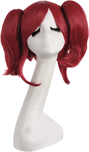 MapofBeauty 16 Inch/40cm Lolita Sweet and Lovely Straight Anime Cosplay Wigs (Blood Red)