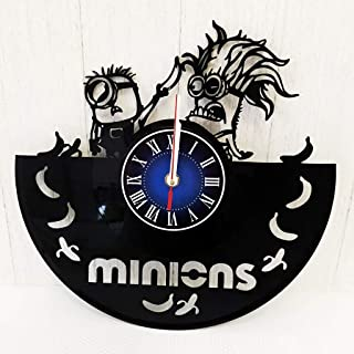 Despicable Me Minions Gift Wall Clock Made from 12 inches / 30 cm Vintage Vinyl Record | The Disney Movie | Minions Gift for Women Boys Girls | Minions Gift | Despicable Me Merchandise