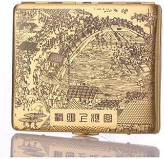 LONGWDS Caja de cigarro Caso de cigarrillos, completa Cobre caso de cigarrillos, finamente tallado Qingming Shanghe Figura...