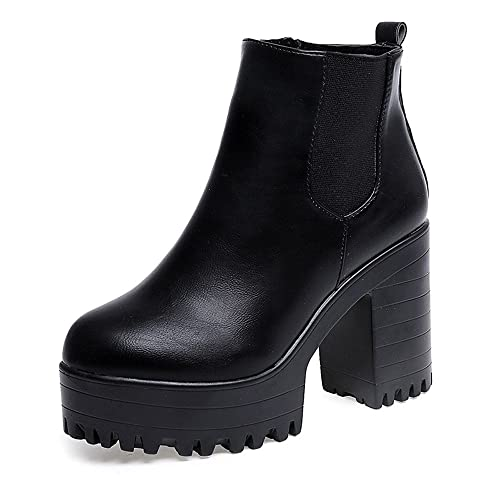 Womens High Heel Lace Up Ankle Boots Fashion Ladies Buckle Platform Shoes