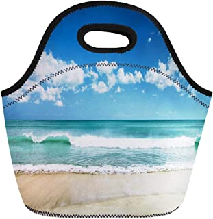 Semtomn Neoprene Lunch Tote Bag Wave White Sand Beach and Blue Sky Sea Shore Reusable Cooler Bags Insulated Thermal Picnic Handbag for Travel,School,Outdoors,Work