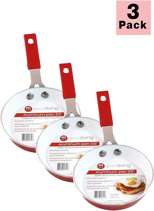 Good Living 3 5 Fast Heating Aluminum Single Egg Pan Red 3 Pack