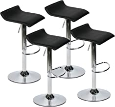 Set of 4 Adjustable Swivel Barstools, PU Leather with Chrome Base, Gaslift Pub Counter Chairs, Black