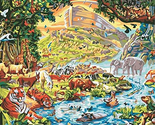 Malen nach Zahlen für Erwachsene und Kinder DIY Ölgemälde Geschenk-Kits Vorgedruckte Leinwand Kunst Home Decoration Noahs Ark 16 * 20 Zoll-ohne Rahmen