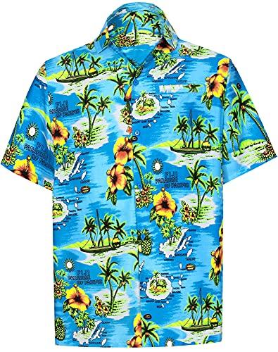 LA LEELA botón de los Hombres se extendió Abajo a la Camisa de Flores Hawaiano