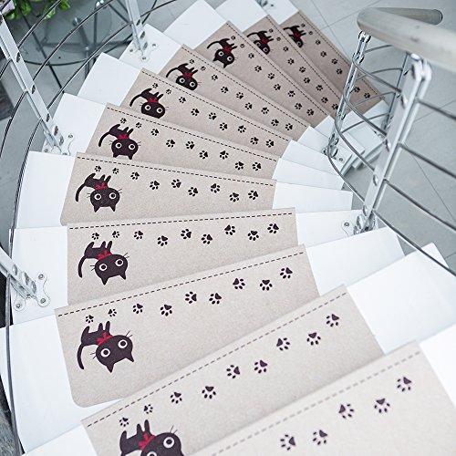 LianLe 15 Stück Stufenmatten Treppenmatten Nachtleuchtend Rechteckig Ruschfest Lärmschutz, 55x22cm