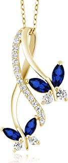 Gem Stone King 1.21 Ct Marquise Blue Created Sapphire 18K Yellow Gold Plated Silver Butterfly Pendant