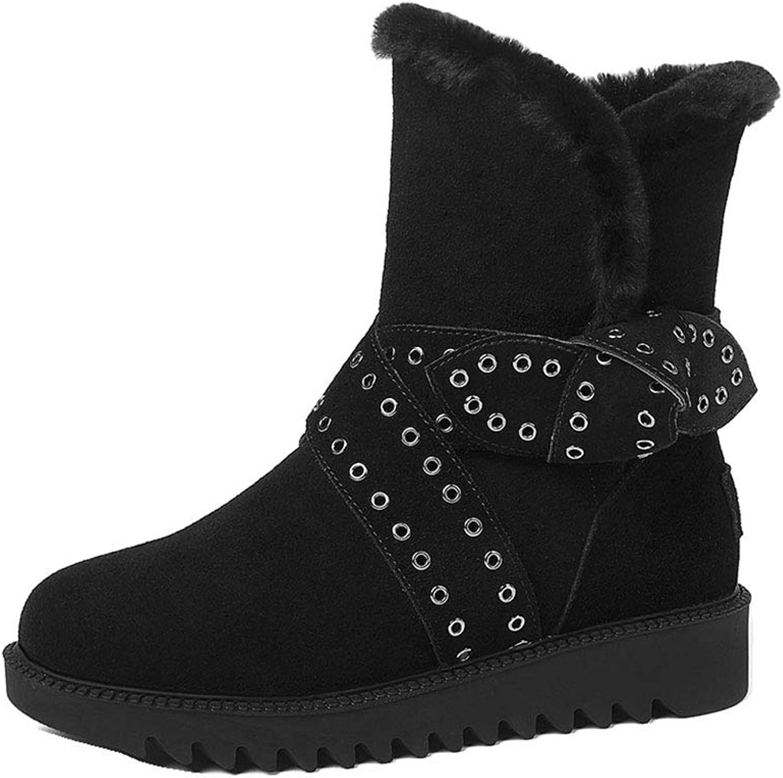 Booslipss, Metal Belt Buckle, Snow Snow Snow stövlar Fall  Winter mode Comfortable Flat skor Ladies svart sammet Martin stövlar (Färg  svart, Storlek  36)  varm