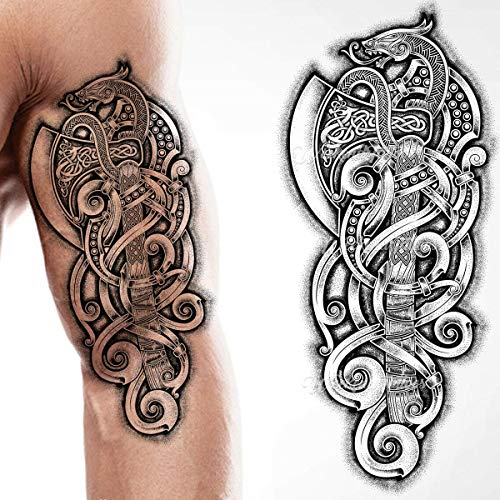 Tatodays Viking celtic nordic tribal axe snake tribal stick on tattoo temporary body art transfer for women and men cosplay halloween adult temp tattoo for arms shoulders chest back legs axe viking tattoo