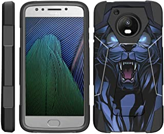 TurtleArmor | Compatible with Motorola Moto E4 Case | Moto E 4th Gen | XT1768 [Dynamic Shell] Hybrid Duo Cover Impact Shock Silicone Kickstand Hard Shell Animal - Fierce Panther