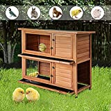 Merax Rabbit Hutch Wooden House Wooden Cage for Small...