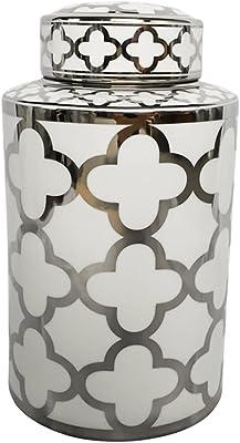 Benzara BM165649 Cylindrical Shaped Ceramic Jar Medium Blue and White