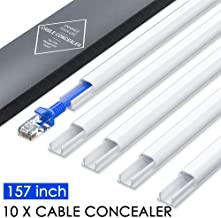 Mini Wire Hider Wall, 157in Cable Cover, PVC Cable Concealer Channel, Paintable Cord Cover to Hide Speaker Wire, Ethernet Cable, CC05 White