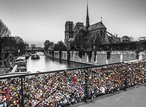 AFDRUKKEN-op-GEROLDE-CANVAS-Pont-des-Arts-brug-met-liefde-hangsloten,-Parijs-Frank-Assaf-Europese-Afbeelding-gedruckt-op-canvas-100%-katoen-Opgerolde-canva-Afmeting-66_X_91_cm