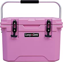 CAMP-ZERO 20L   21.13 Quart Premium Cooler/Ice Chest with 4 Molded-in Cup Holders   Pink