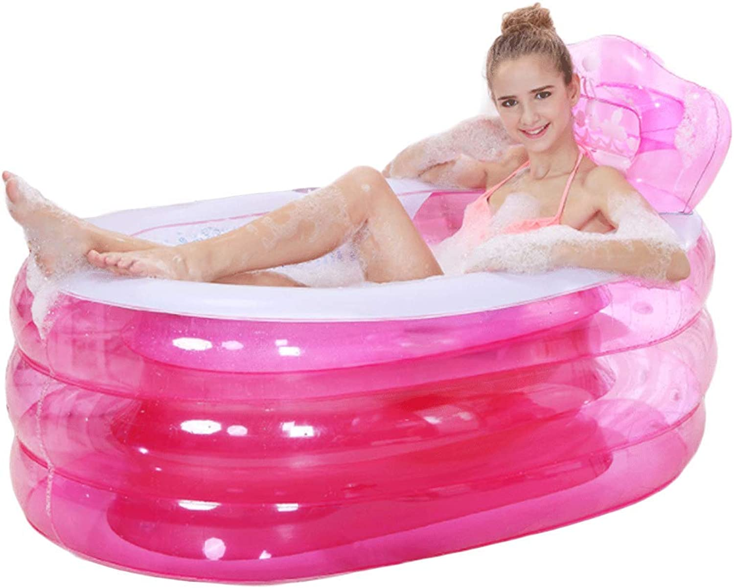 Shufulive Crystal Inflatable Bathtub - Adult Portable Foldable Plastic Home SPA Bath Tub Pool with Manual Air Pump,130×75×70cm, bluee and Pink