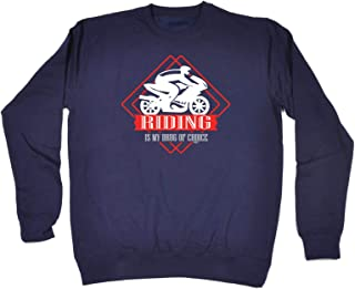 123t Funny Novelty Funny Sweatshirt - Moto Riding is My Drug of Choice - Sweater Jumper