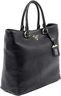 Prada Women's Black Vitello Phenix Leather Shopping Tote 1BG865