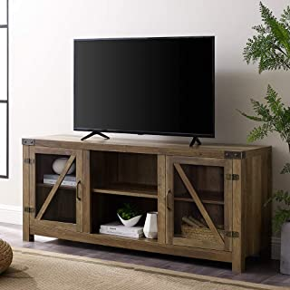 """Walker Edison Farmhouse Barn Glass Door Wood Universal TV Stand for TV`s up to 64"""" Flat Screen Living Room Storage Cabinet Doors and Shelves Entertainment Center, , Reclaimed Barnwood Brown"""