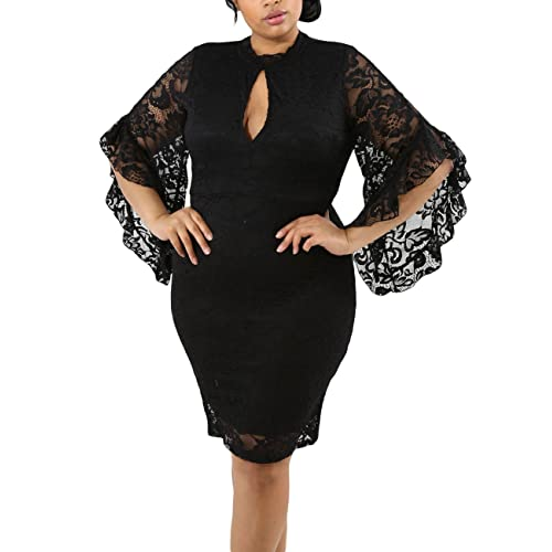 23aef5c23a358 Lalagen Women Plus Size Lace Flare Bell Sleeves Bodycon Cocktail Party Dress