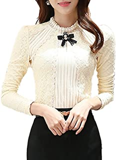 Women's Vintage Beaded Buttons Pleated Shirt Long Sleeve Lace Stretchy Blouse