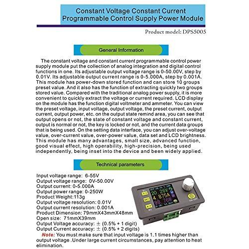 DPS5005 50 V 5 A Buck Regulable DC Voltaje Voltaje Módulo de fuente de alimentación integrado Voltímetro Amperímetro con indicador de color