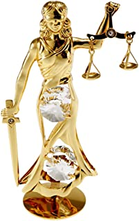 Lady Justice 24k Gold-Plated Figurine with Spectra Crystals by Swarovski
