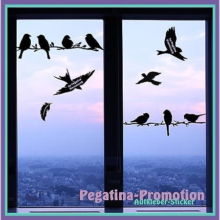 Hochwertiges Aufkleber Set Vögel Sitzend Auf Einem Ast 50cm Plus Fliegende Vögel 15 20cm Und Feder