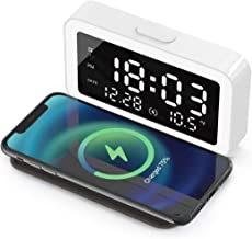 Wireless Phone Charger with Integrated Digital Alarm Clock,thermometer and Led Night Lamp