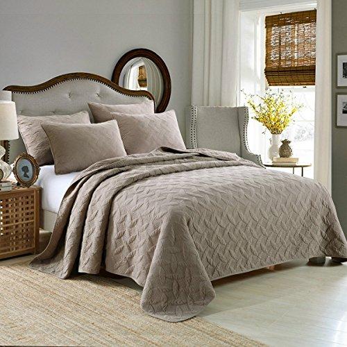 Qucover 3 TLG. gesteppt Tagesdecke Bettüberwurf aus 100prozent Baumwolle Sofa Decke Überwurf 230cm x 250cm, Hellbraun