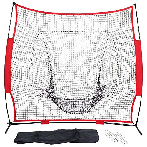 Topeakmart 7'×7' Baseball & Softball Practice Net Portable Hitting Batting Training Net with Carry Bag & Bow Frame