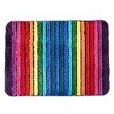 Novelty Microfiber Bath Mat Area Rugs for Bathroom Entryway Rainbow 50 70 cm